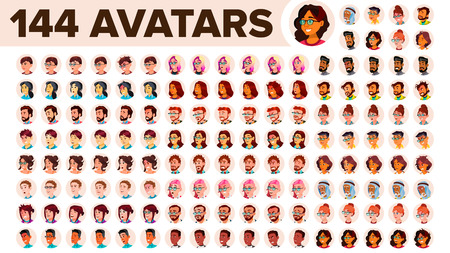 People Avatar Set Vector. Man, Woman. Circle Pictogram. Expressive Picture. Human Emotions. Stylish Image. Icon Placeholder. Casual Workman. Flat Cartoon Character Illustration
