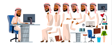 Arab Man Office Worker Vector. Animation Set. Generator. Facial Emotions, Gestures. Front, Side, Back View. Businessman Worker. Traditional Clothes. Islamic. Thawb, Thobe. Arab, Muslim. Illustration