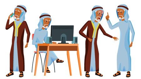 Arab Man Office Worker Vector. Islamic. Traditional Clothes. Old. Business Set. Face Emotions, Gestures. Adult Entrepreneur Business Man. Happy Clerk, Servant, Arabic Employee. Illustration