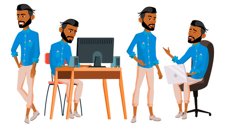 Arab Man Office Worker Vector. Arabic Traditional Clothes. Ghutra. Business Set. Facial Emotions, Gestures. Animated Elements. Corporate Businessman Male. Successful Officer, Clerk. Illustration