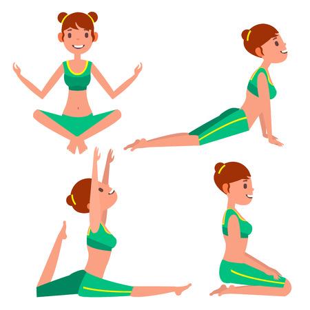 Yoga Woman Poses Set Vector. Girl. Yoga Exercise. Doing Fitness, Sport. Flat Cartoon Illustration