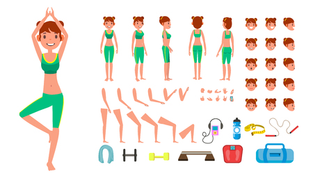 Yoga Woman Vector. Prenatal Yoga Animated Character Creation Set. Woman Full Length, Front, Side, Back View, Accessories, Poses, Face Emotions, Gestures. Isolated Flat Cartoon Illustration