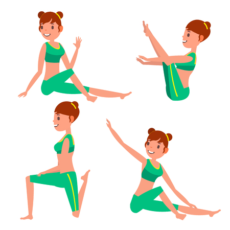Yoga Female Vector. In Action. Meditation Positions. Flexible Girl. Cartoon Character Illustration