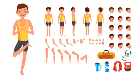 Yoga Man Vector. Prenatal Yoga Animated Character Creation Set. Man Full Length, Front, Side, Back View, Accessories, Poses, Face Emotions, Gestures. Isolated Illustration Illustration