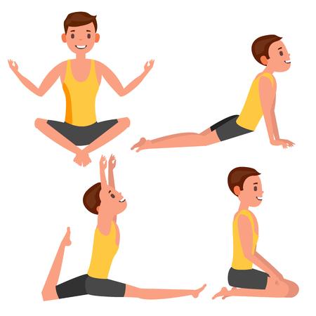 Yoga Man Poses Set Vector. Girl. Yoga Poses. Doing Yoga Workout. Flat Cartoon Illustration