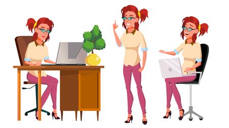 Büroangestellter Vektor. Frau. Erfolgreicher Offizier, Angestellter, Diener. Posen. Erwachsene Geschäftsfrau. Gesicht Emotionen, verschiedene Gesten isoliert flache Cartoon Illustration Vektorgrafik