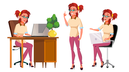 Office Worker Vector. Woman. Successful Officer, Clerk, Servant. Poses. Adult Business Woman. Face Emotions, Various Gestures Isolated Flat Cartoon Illustration