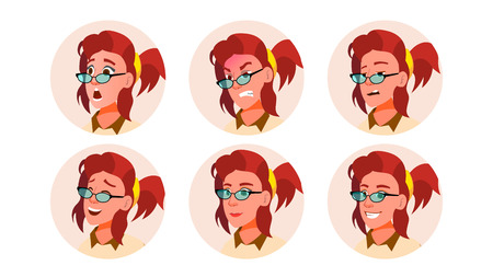 Avatar Woman Vector. Facial Emotions. User Portrait. Scared, Aggressive. Happiness, Unhappy. Modern Employer Isolated Flat Cartoon Illustration