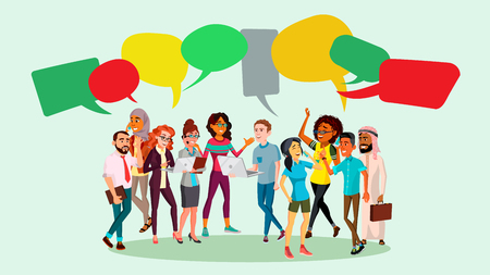 People Group Chat Vector. Communication Bubble. Teamwork. Office Lifestyle. Message. Speech Bubbles Illustration