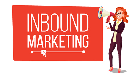 Inbound Marketing Banner Vector. Female With Megaphone. Place For Text. Loudspeaker. Web Pages, Social, Call to Action. Speech Bubble. Isolated Illustration