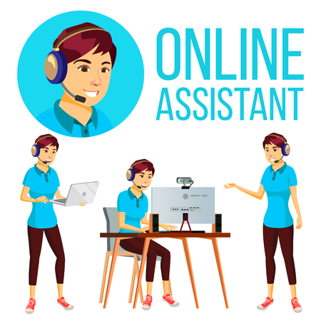 Online Assistant Asian Woman Vector. User Support Service. Hotline Operator. Flat Illustration