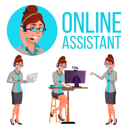 Online Assistant Woman Vector. Consulting Client. Customer Help. Illustration