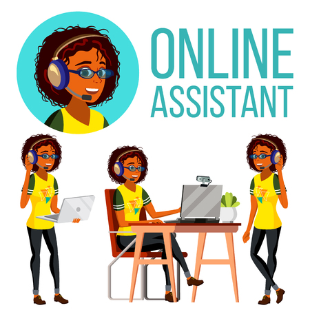 Online Assistant African Woman Vector. Headphone, Headset. Call Center. Technical Support. Dispatcher. Illustration Illustration