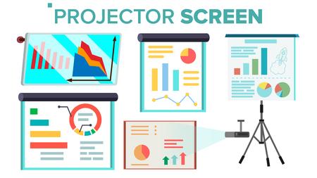 Projektorbildschirm Set Vector. Präsentation mit Grafik. Whiteboard. Seminar, Vortrag, Geschäftskonferenzen, Schulungspersonal, Besprechung. Isolierte Illustration