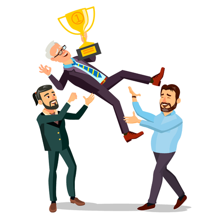 Winner Businessman Vector. Throwing Colleague Up. Business People Celebrating Victory. With Golden Trophy. First. Prize. Flat Cartoon Illustration Illustration