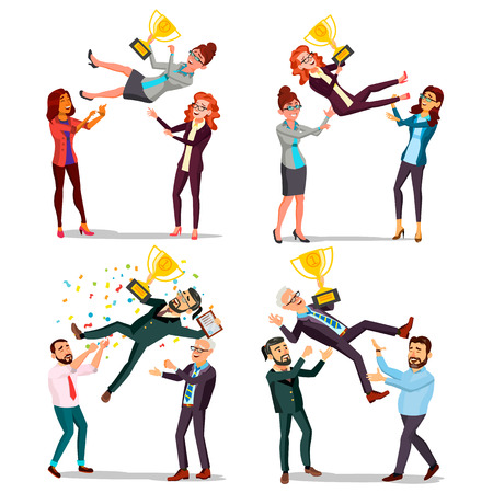 Winner Business People Set Vector. Man, Woman. Throwing Colleague Up. Colleague Celebrating Goal Achievement. First. Prize. Holding Golden Cup. Champion Number One. Cartoon Illustration 일러스트