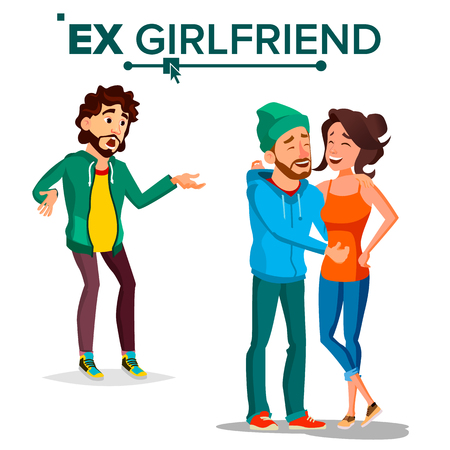 Ex Girlfriend Vector. Young Couple. Past Relationship Concept. Shocked Man. Breaking Up Divorce. Isolated Flat Cartoon Illustration