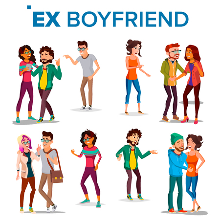 Ex Boyfriend, Girlfriend Vector. Past Relationship Concept. Frustrated. Ex-lover. Jealousy, Love Triangle. Shocked. Breaking Up Divorce. solated Flat Cartoon Illustration 向量圖像