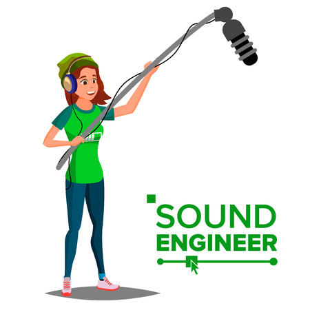 Sound Engineer Man Vector. Professional Videography Studio. Journalist With Microphone. Isolated Cartoon Illustration Stock Illustratie