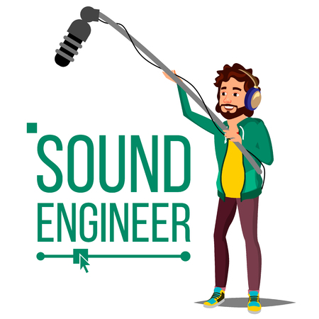 Sound Engineer Man Vector. Audio Recording Process. Recording News, Film. Cinematography. Isolated Cartoon Illustration Illustration