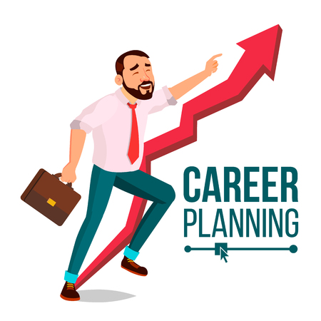 Businessman Career Planning Vector. Fast Success Concept. Mission. Huge Red Arrow. More Profit. Isolated Cartoon Illustration Archivio Fotografico - 104219267