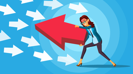 Business Woman Pushing Arrow Vector. Opponent Concept. Opposite Direction. Standing Out From The Crowd. Against Obstacles. illustration Illustration