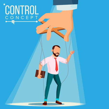 Manipulation Businessman Vector. Puppet Master And Employee. Worker On Ropes. Unfairly Using. Big Hand. Cartoon Illustration
