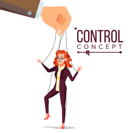 Manipulation Business Woman Vector. Marionette Concept. Worker On Ropes. Dishonestly Under The Influence Of Boss. Unfair. Cartoon Illustration