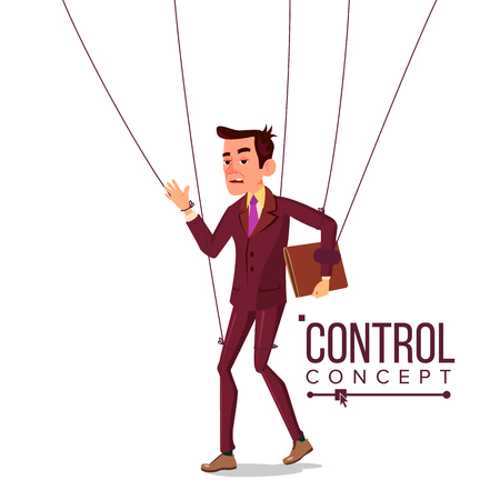 Manipulation Businessman Vector. Control Concept. Person On Ropes. Dishonestly Under The Influence. Unfair. Cartoon Illustration