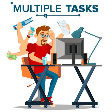 Multiple Tasks Businessman Vector. Many Hands. Efficiency And Productivity. Plodding Worker. Flat Cartoon Illustration