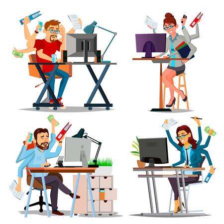 Multiple Tasks Business Concept Vector. Set Person. Many Hands Doing Tasks. Professional Occupation. Skill Of Multitasking. Financial Occupation. Talented Worker. Plodding Worker. Illustration Stock Illustratie