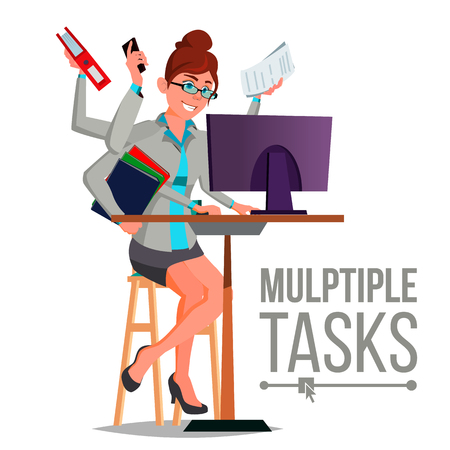 Multiple Tasks Business Woman Vector. Many Hands Simultaneously. Financial Occupation. Talented Worker. Flat Cartoon Illustration Vectores