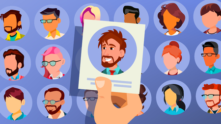 Human Recruitment Vector. Man. Vacancy Concept. Select And Choice. People Human Resources. Employees Group Management. Cartoon Illustration Illustration