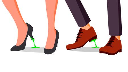 Zakelijke problemen Concept Vector. Voeten vast. Zakenman, Vrouwenschoen Met Kauwgom. Verkeerde stap, besluit. Illustratie