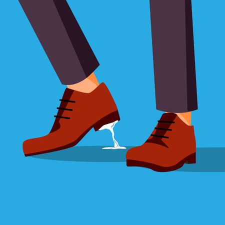 Business Trouble Stuck Vector. Feet. Businessman Shoe With Chewing Gum. Wrong Step, Decision. Illustration