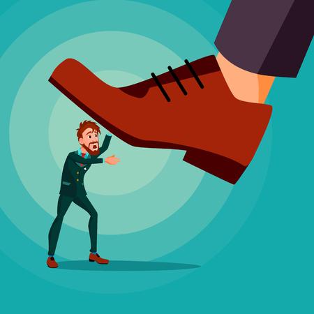 Pie grande pisando el vector de empresario. Zapatos. Pie pisoteando. Oprimido. Estrategia de confrontación. Ilustración de dibujos animados