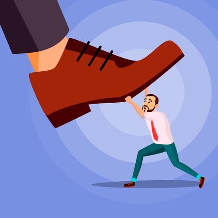 Pie grande pisando el vector de empresario. Energía. Lucha contra el pie gigante. Crisis. Ilustración de dibujos animados de dominación