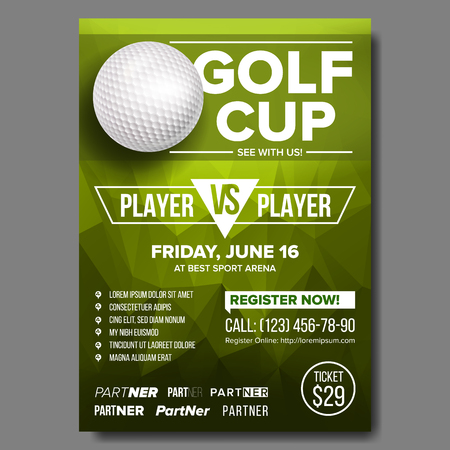 Golf Poster Vector. Design For Sport Bar Promotion. Golf Ball. Modern Tournament. Sport Event Announcement. Banner Advertising. Championship Template Illustration Vectores