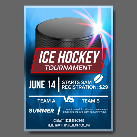 Ice Hockey Poster Vector. Banner Advertising. A4 Size. Sport Event Announcement. Winter Game, League Design. Snow. Layout. Championship Template Illustration Banco de Imagens - 105326656