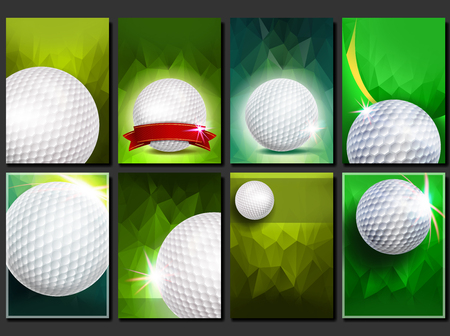 Golf Poster Set Vector. Empty Template For Design. Promotion. Golf Ball. Modern Tournament. Sport Event Announcement. Banner Advertising. Championship Blank Illustration Stock Photo