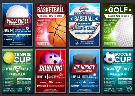 Sport-Plakat-Vektor. Fußball, Tennis, Golf, Basketball, Bowling, Baseball, Eishockey. Event-Design-Vorlage. Sport Bar Promo, Bowling Ball Turnier A4 Meisterschaft Flyer Ankündigung Illustration Vektorgrafik