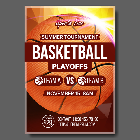 Basketball Poster Vector. Sport Event Announcement. Banner Advertising Leaflet. Ball. Professional League. Event Flyer Illustration Stock Photo
