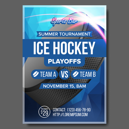 Ice Hockey Poster Vector. Sport Event Announcement. Vertical Banner Advertising. Professional League. Cold. Ice Game. Tournament Event Label Illustration