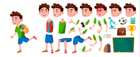 Boy Schoolboy Kid Vector. Primary School Child. Animation Creation Set. Elementary. Auditorium. Room, Book. For Card, Advertisement, Greeting Design Face Emotions Gestures Illustration