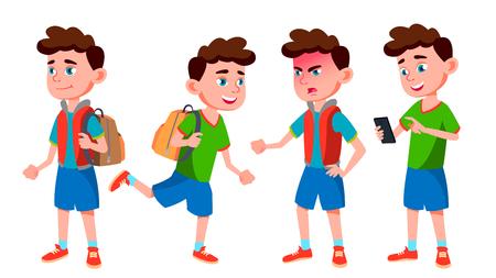 Junge Schüler Kid Posen Set Vector. Grundschulkind. Süßes Kind. Glück Genuss. Tschüss, hübsch. Für Präsentation, Druck, Einladungsdesign. Isolierte Cartoon-Illustration