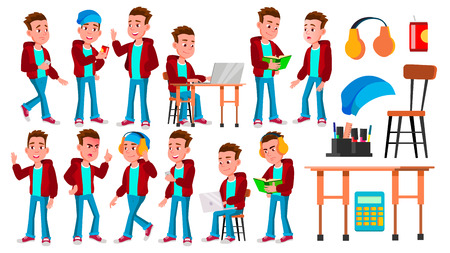 Boy Schoolboy Kid Poses Set Vector. High School Child. Teaching, Educate, Schoolkid. For Presentation, Print, Invitation Design. Isolated Cartoon Illustration Ilustração