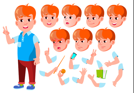 Boy, Child, Kid, Teen Vector. Beautiful. Youth, Caucasian. Face Emotions, Various Gestures Animation Creation Set Isolated Flat Cartoon Character Illustration