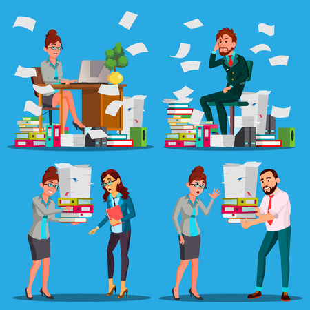 Business People Doing Paperwork Vector. Office Workers. Very Busy Day. To Excessive Work. Accounting Bureaucracy. Disorganized Manager. Documentation. Stress. Overworked. Illustration Illustration
