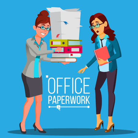 Business Woman Doing Paperwork Vector. Office Worker. Very Busy Day. To Excessive Work. Accounting Bureaucracy. Disorganized Manager. Flat Cartoon Illustration 矢量图像