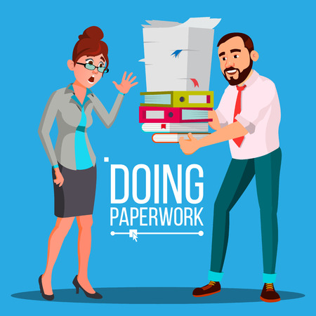Business Woman Doing Paperwork Vector. Office Worker. Overloaded. Stressful. File Folders. Depressed Busy Person. Flat Cartoon Illustration